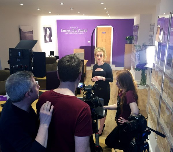 Tamsin Parker presenting for a corporate video.