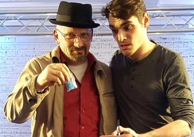 Jamie Pagett as Walter White with the real Walter Jnr